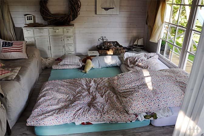 Die Betten im Gartenhaus