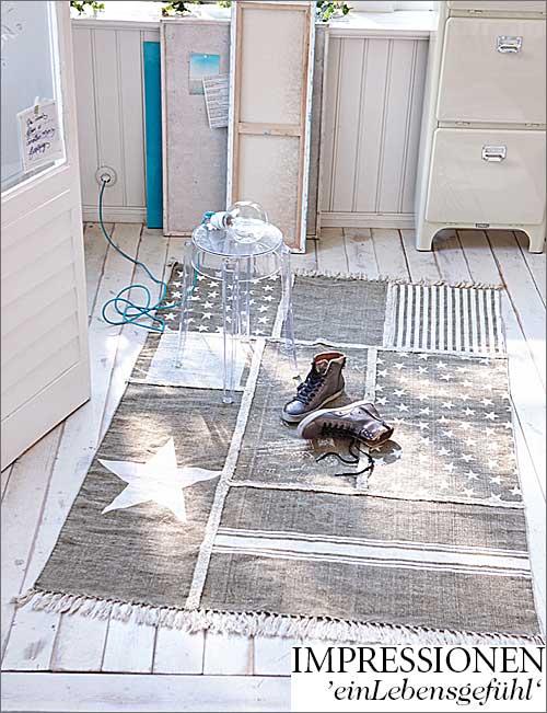 Patchwork Teppich mit Sternen
